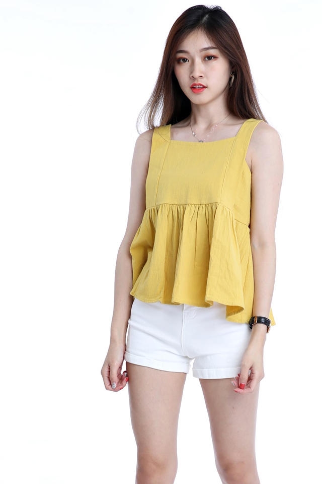 BACKORDER - ABIGAIL BABYDOLL TOP IN MUSTARD YELLOW