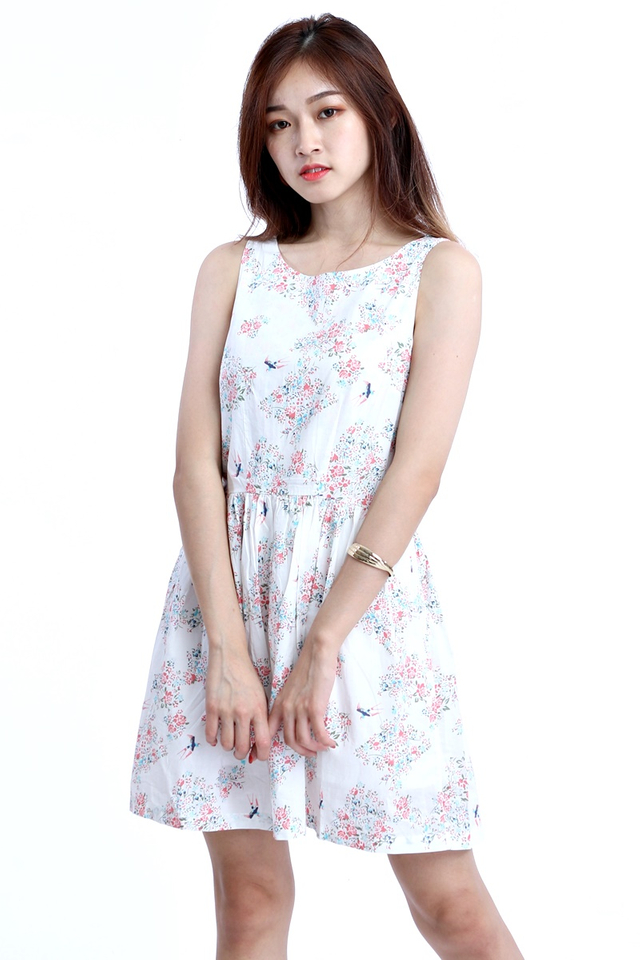 BACKORDER- BIRD AND FLORAL PRINTED DRESS  IN WHITE