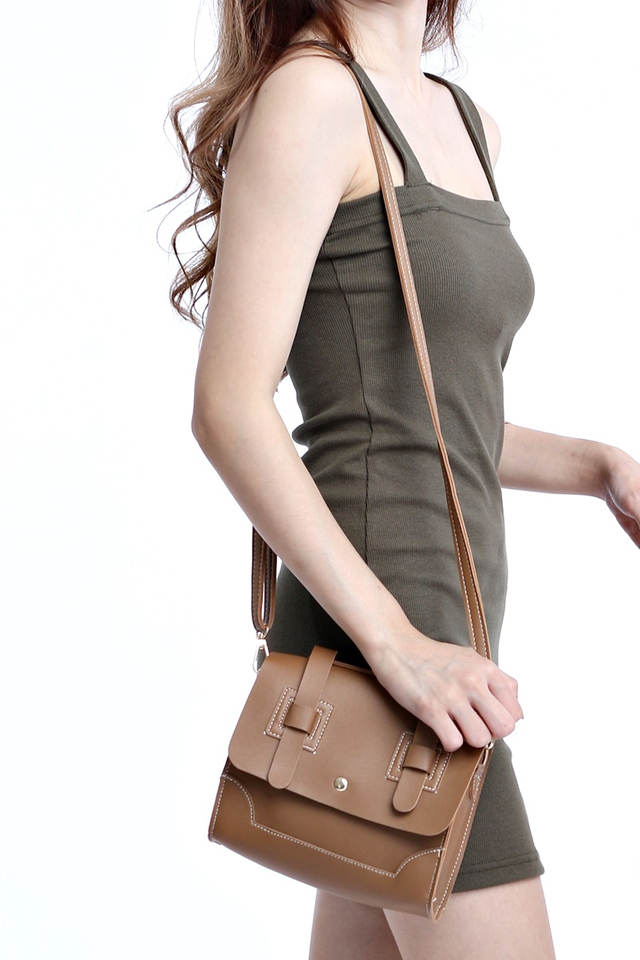BACKORDER- HANNAH SMALL SLING BAG IN BROWN