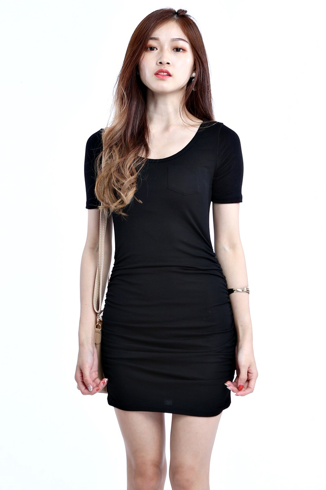 BACKORDER- SOPHIE RUCHED DRESS IN BLACK
