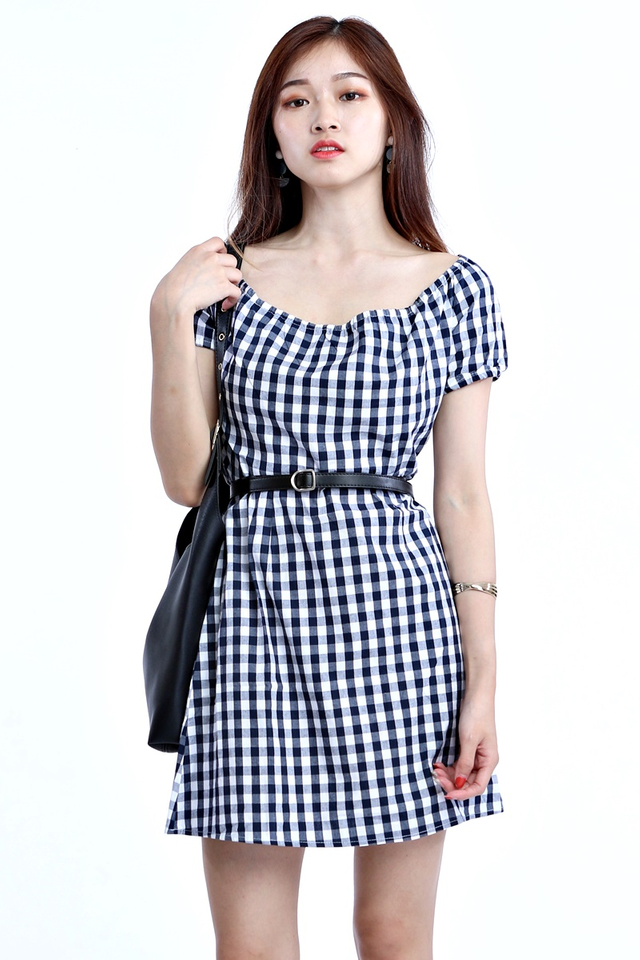 IN STOCK- FIRA CHECKERED DRESS IN BLUE WHITE