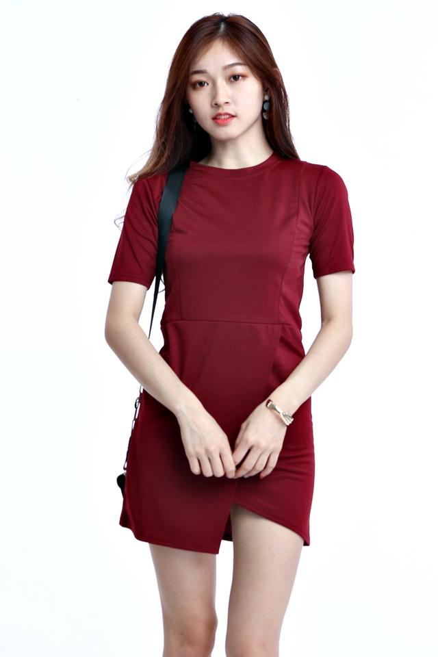 IN STOCK - ZULIA MINI DRESS IN MAROON