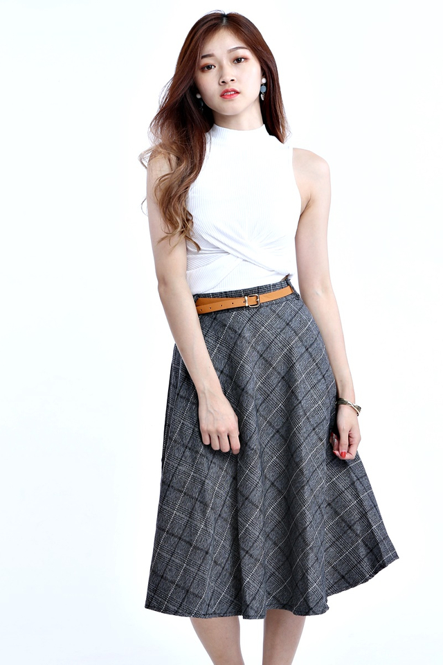 BACKORDER - LIONA CHECKERED SKIRT WITH BELT IN GREY