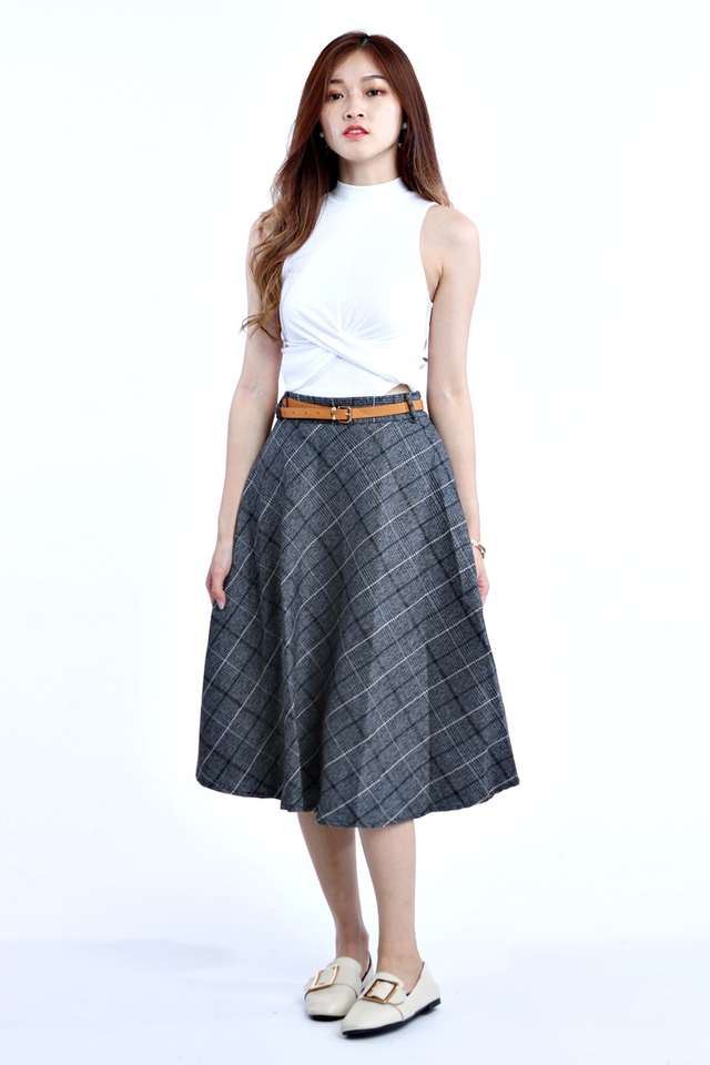BACKORDER- LIONA CHECKERED SKIRT WITH BELT IN GREY