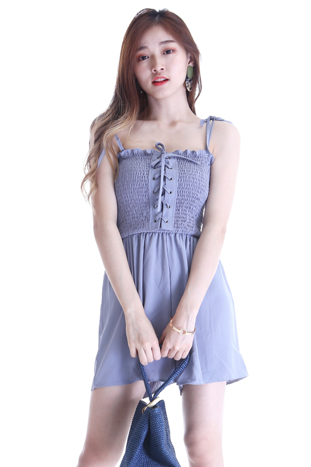 IN STOCK  - BECCA SHOELACE ROMPER IN BLUE