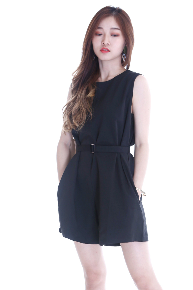 BACKORDER - PRISCA ROMPER IN BLACK