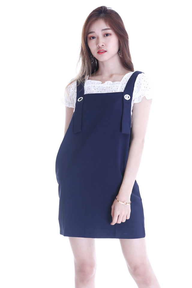 IN STOCK - RINA PINAFORE IN NAVY