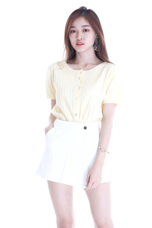 IN STOCK - LONA BUTTON KNIT TOP IN LIGHT YELLOW