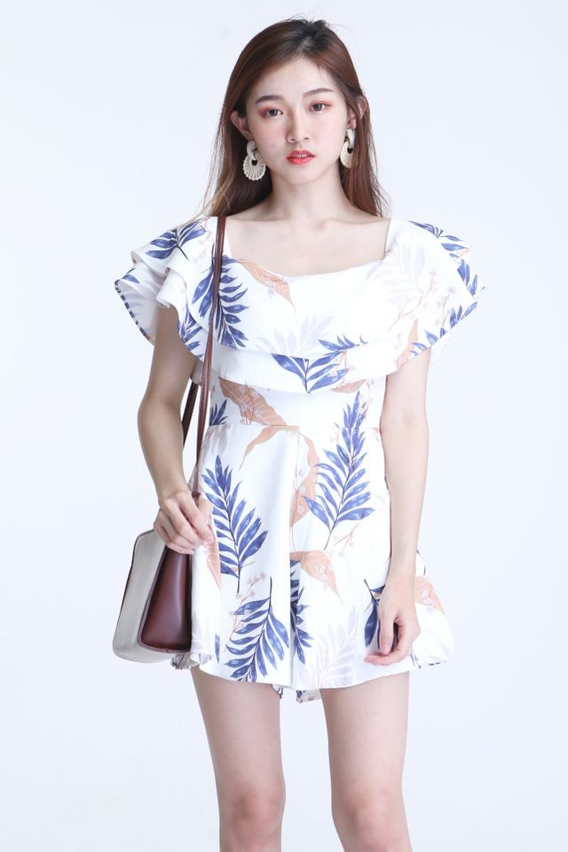 BACKORDER  -ZOTISH PRINTED ROMPER IN WHITE
