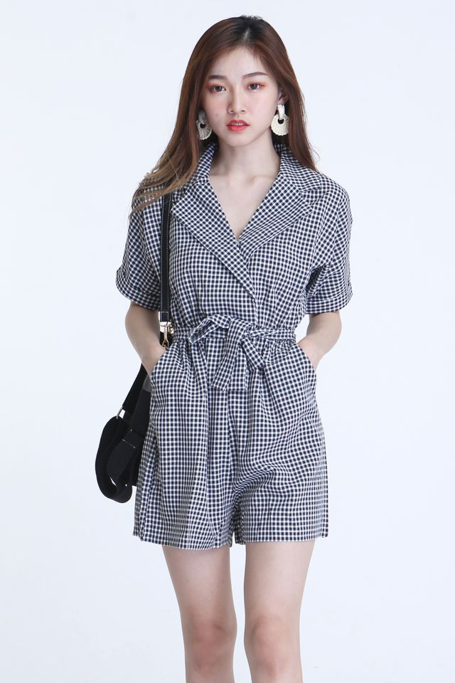 BACKORDER - COLETTE CHECKRED ROMPER IN  BLACK WHITE