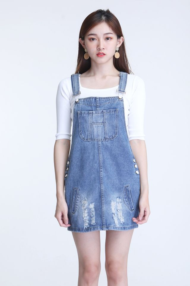 IN STOCk -ADARBY DENIM PINAFORE IN BLUE