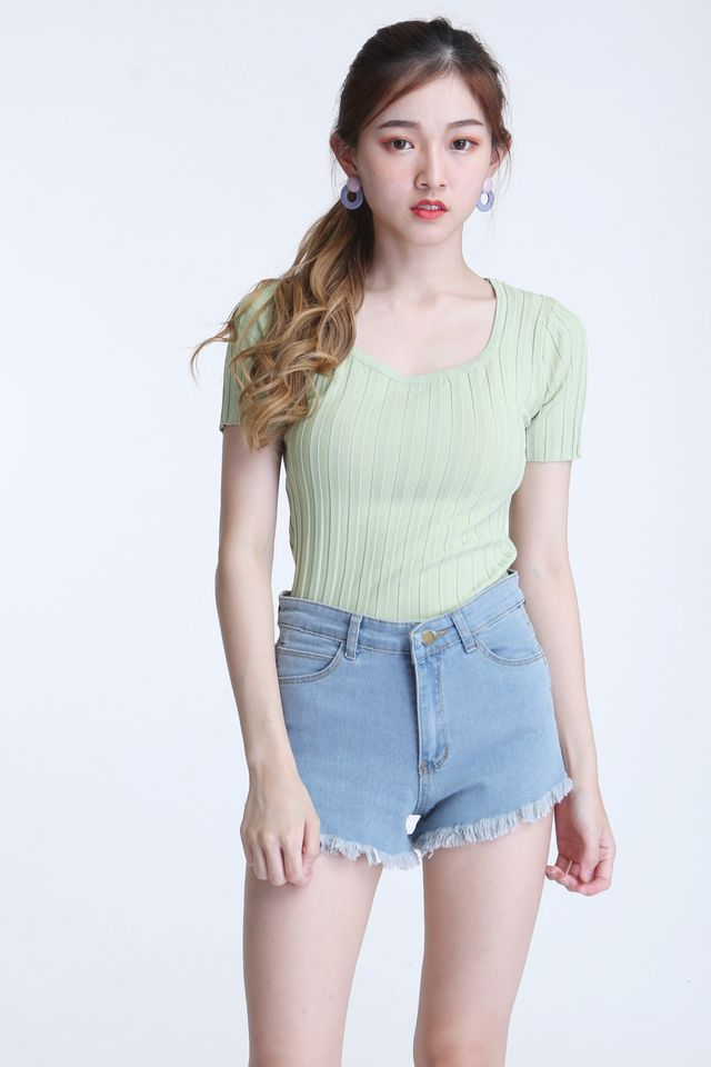 BACKORDER - CORRA KNIT TOP IN GREEN