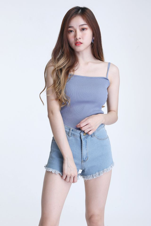 BACKORDER  - DUO STRAP BASIC KNIT TOP IN GREYISH BLUE