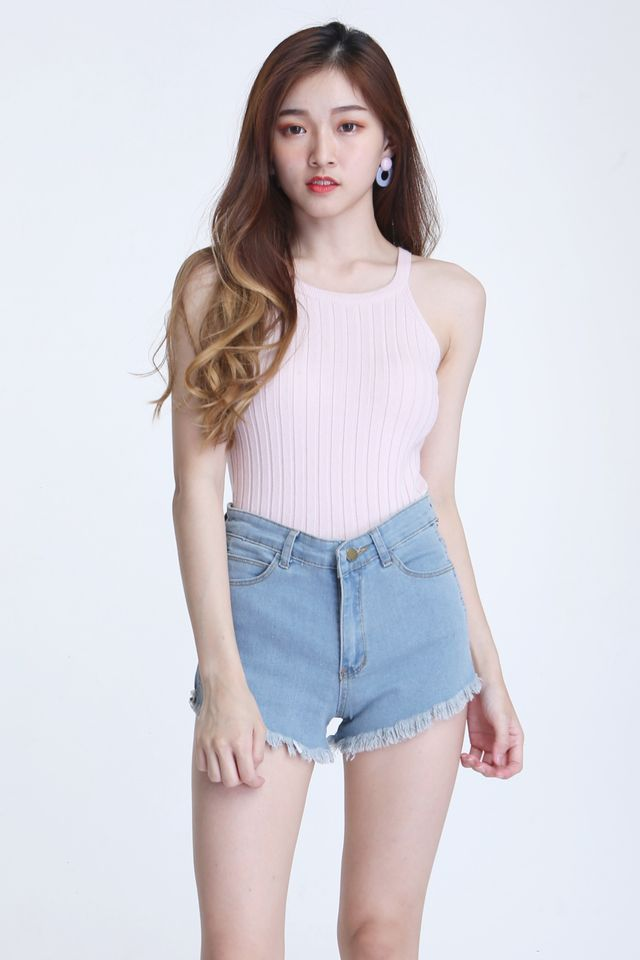IN STOCK - SIONN HALTER KNIT TOP IN PINK