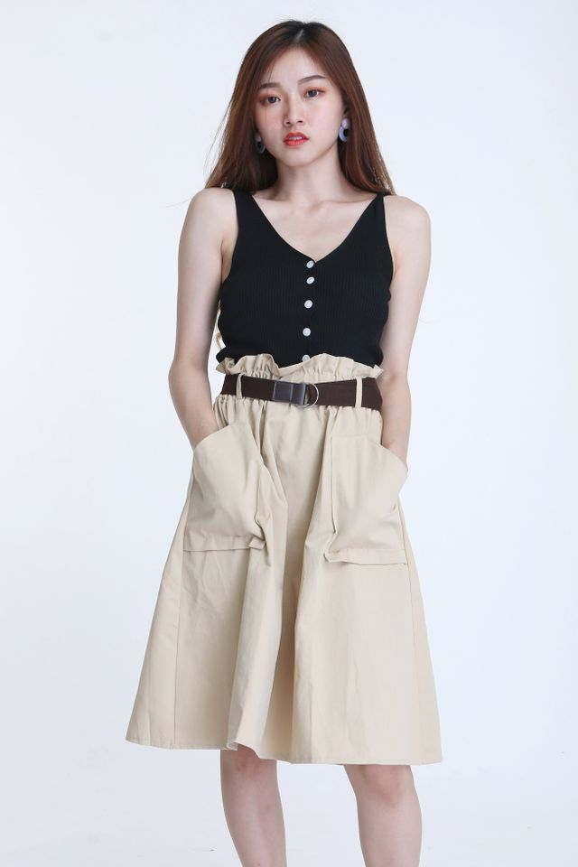 BACKORDER - PEDONA SKIRT WITH BELT IN BROWN