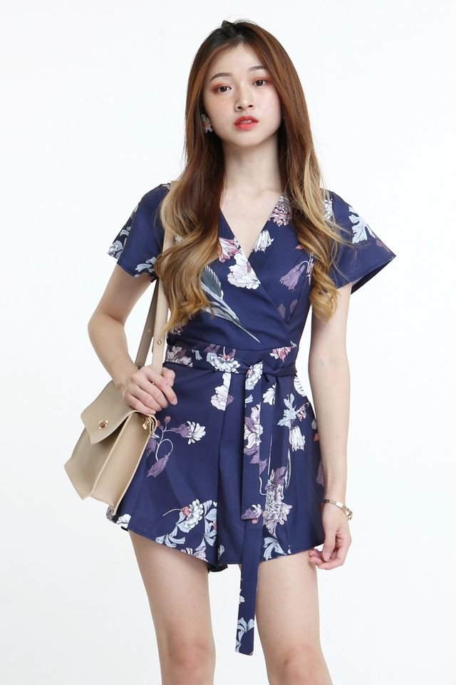 BACKORDER - VINCENT FLORAL ROMPER IN BLUE PURPLE