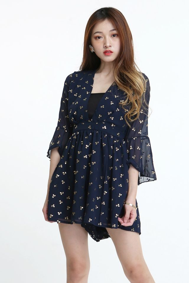 BACKORDER - PENELOP PRINTED ROMPER IN NAVY