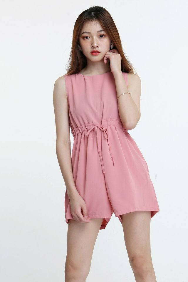 BACKORDER - DRAWSTRING ROMPER IN PINK