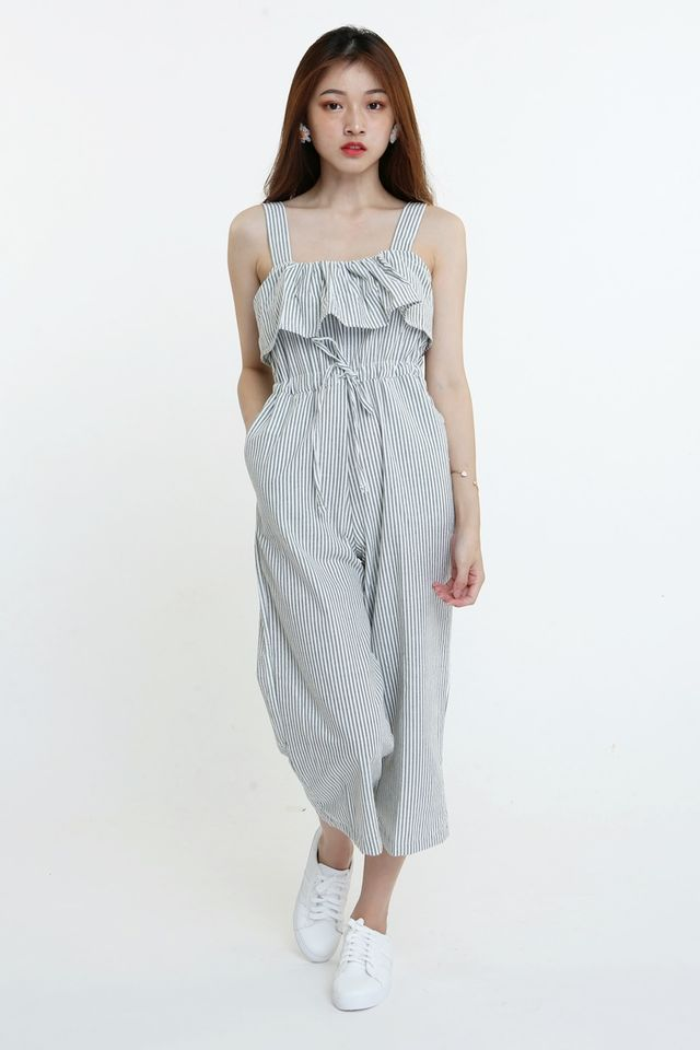 BACKORDER-LARKEN STRIPES JUMPSUIT IN GREY GREEN WHITE
