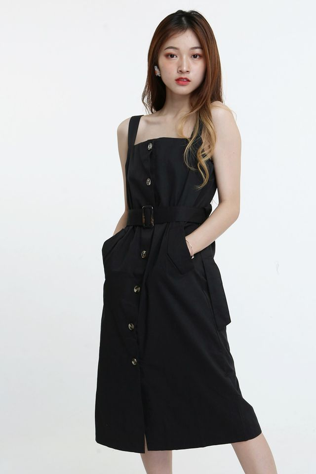 BACKORDER -EVIE BUTTON DOWN DRESS IN BLACK