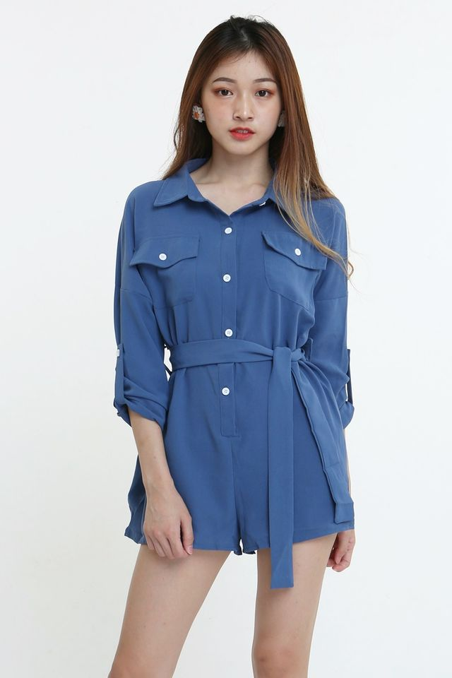 IN STOCk-  SELMA ROMPER IN BLUE (LONG SLEEVE)