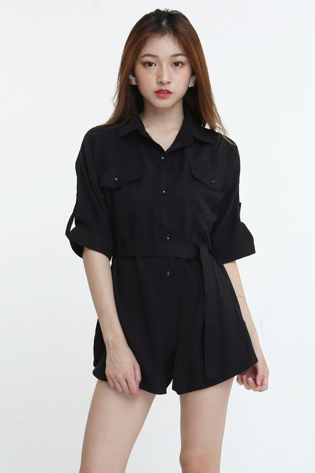 BACKORDER- TORIO ROMPER IN BLACK