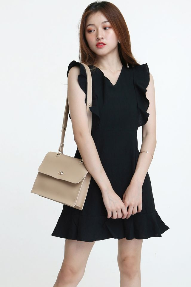 IN STOCK - RIYA LINEN DRESS IN BLACK