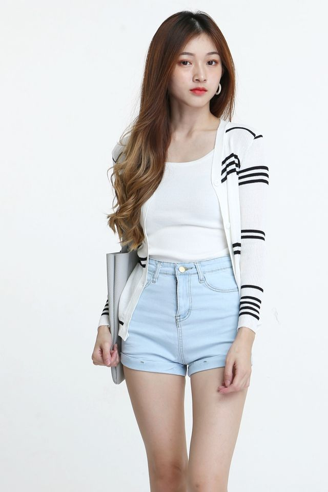 BACKORDER - SHAYLA  STRIPES KNIT CARDIGAN IN WHITE