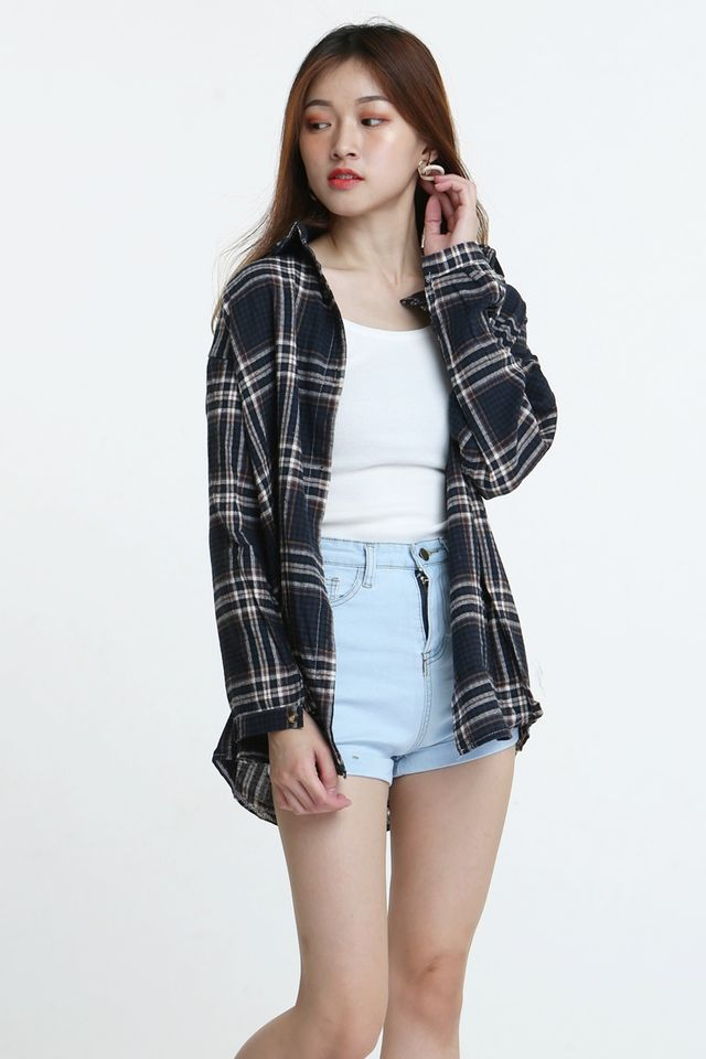 BACKORDER- MABELY CHECKERED SHIRT BLOUSE