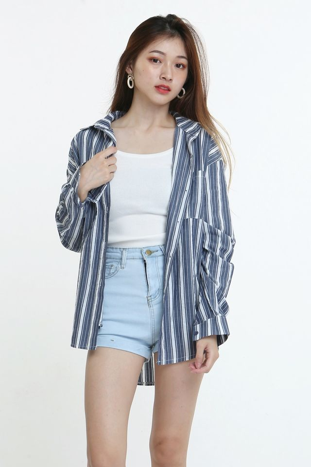 BACKORDER - ACE STRIPES SHIRT BLOUSE IN BLUE