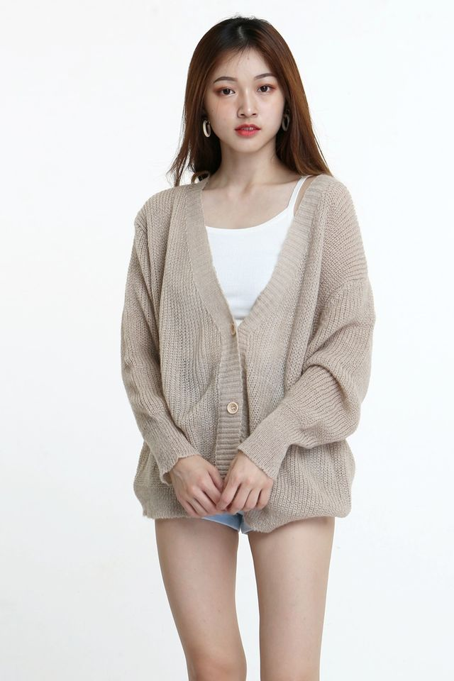 BACKORDER - AXTON WOOLEN CARDIGAN IN BROWN