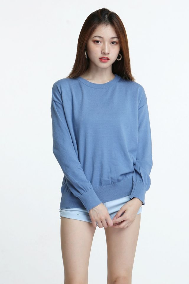 BACKORDER - JAX KNIT TOP IN BLUE