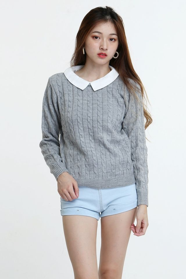 BACKORDER - TWO WAY KNIT TOP IN GREY