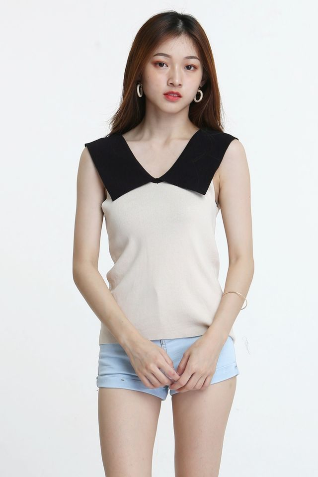 BACKORDER - JOE  CONTRAST KNIT TOP IN BLACK BEIGH