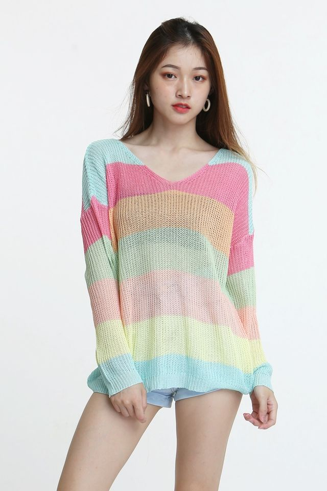 BACKORDER - MEX RAINBOW KNIT TOP