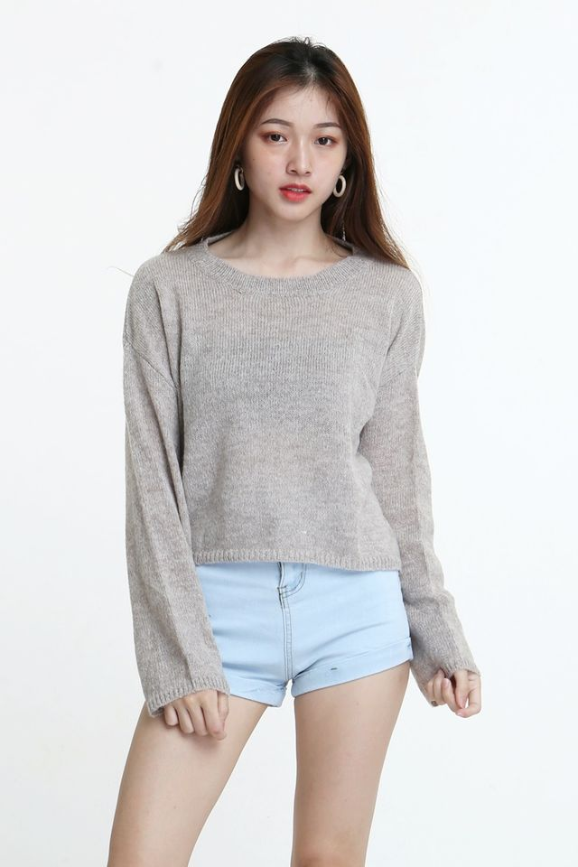 BACKORDER - SASSY KNIT TOP IN BEIGH BROWN