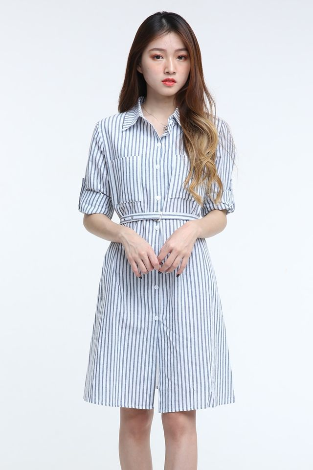 IN STOCK - POPPY STRIPES DRESS IN BLUE WHITE STRIPES