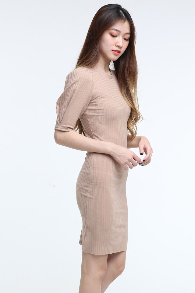 IN STOCK - KATE PUFF SLEEVE DRESS IN NUDE PINK
