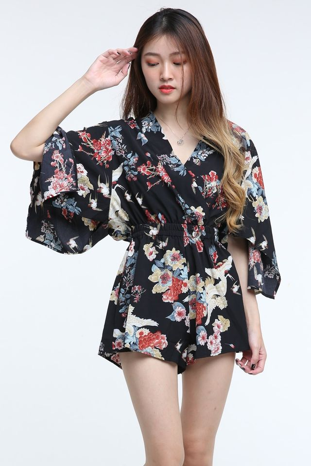IN STOCK- KADEE PRINTED ROMPER IN BLACK