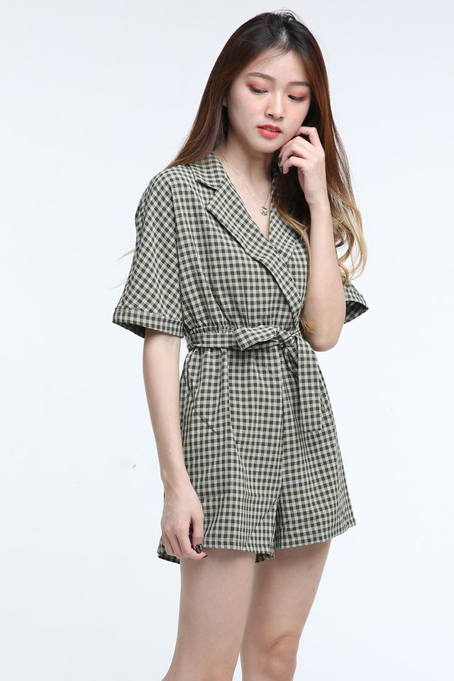 IN STOCK - COLETTE CHECKRED ROMPER IN DULL GREEN