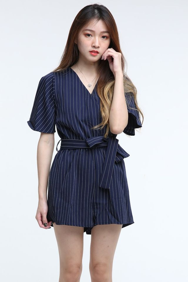 BACKORDER - KADIE STRIPES ROMPER IN NAVY