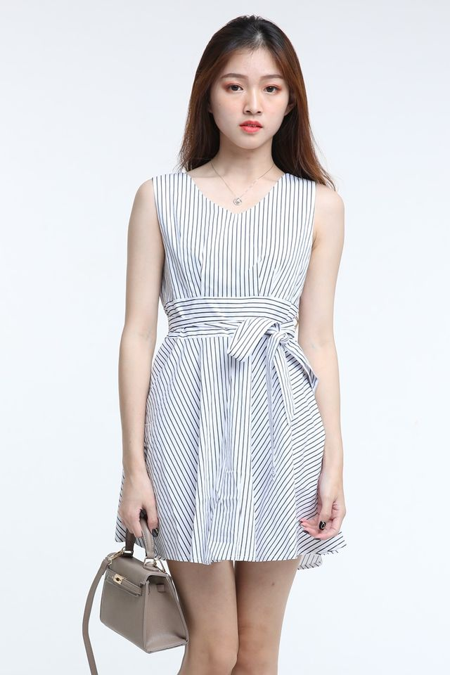 IN STOCK- ALBERETTE STRIPES DRESS IN WHITE