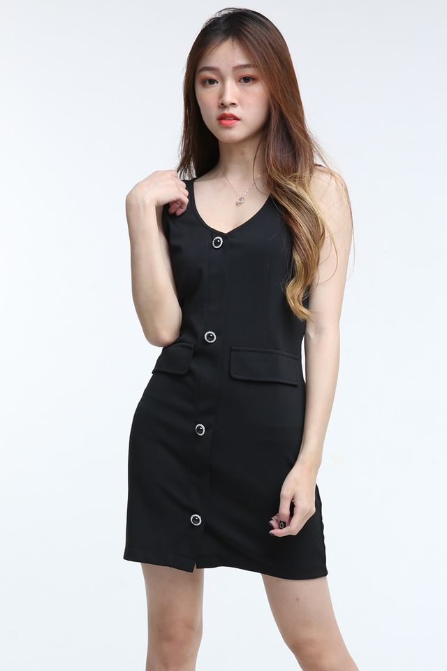 BACKORDER - JEWEL BODYCON DRESS IN BLACK