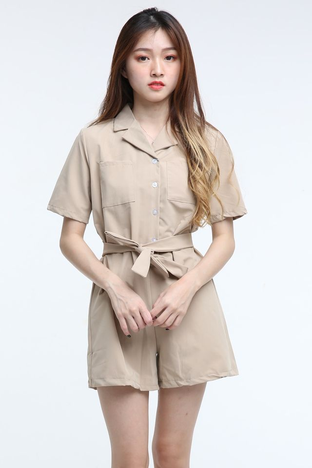 IN STOCK -JEN ROMPER IN BROWN