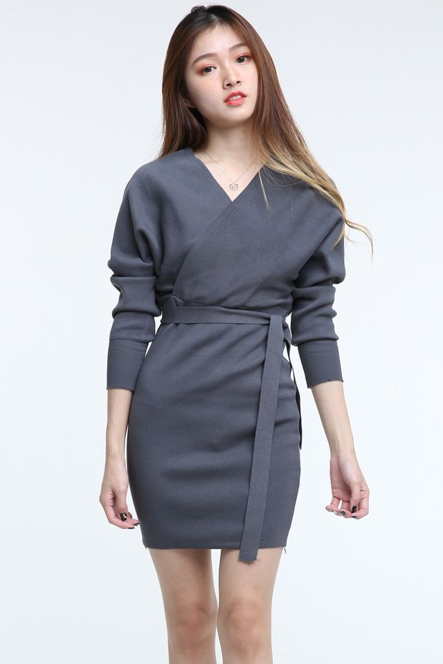 BACKORDER  -SAGE KNIT DRESS IN DARK GREY