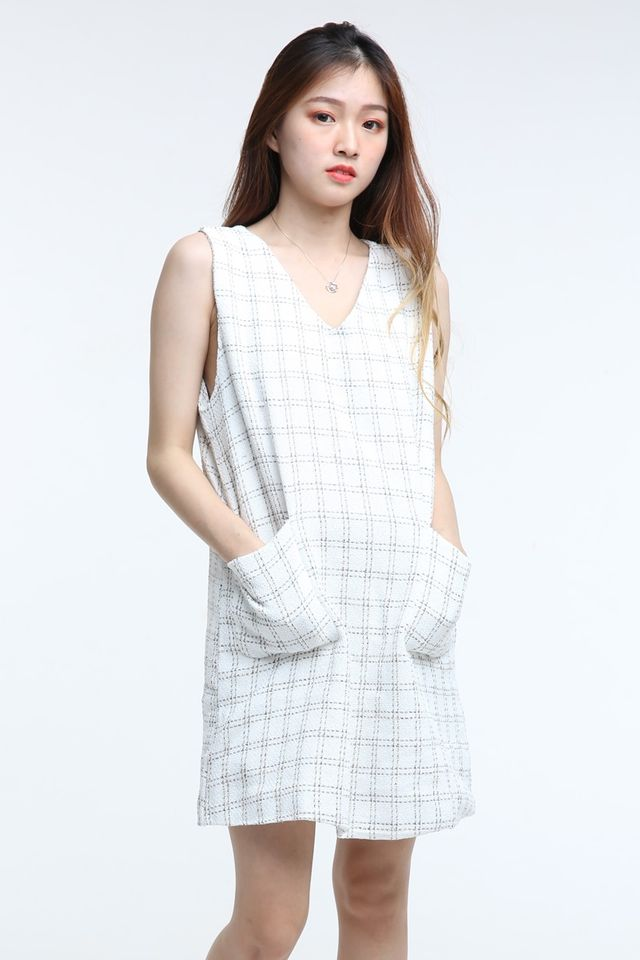 BACKORDER - TWEED WHITE DRESS