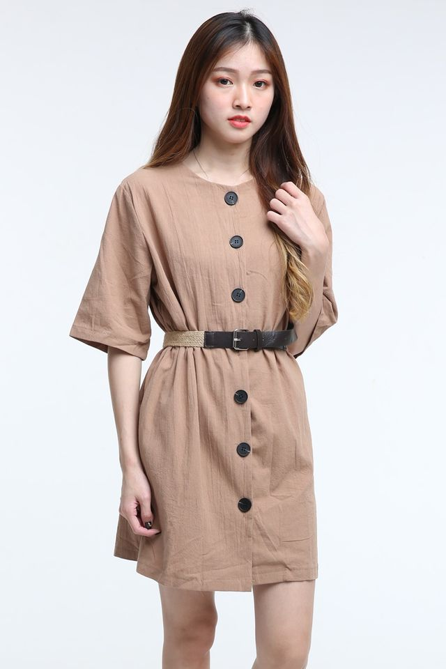 IN STOCK - JUANA DRESS WITH BELT IN BROWN