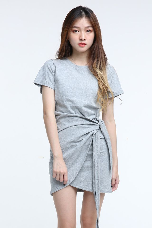 BACKORDER- VICENTA WRAP DRESS IN LIGHT GREY
