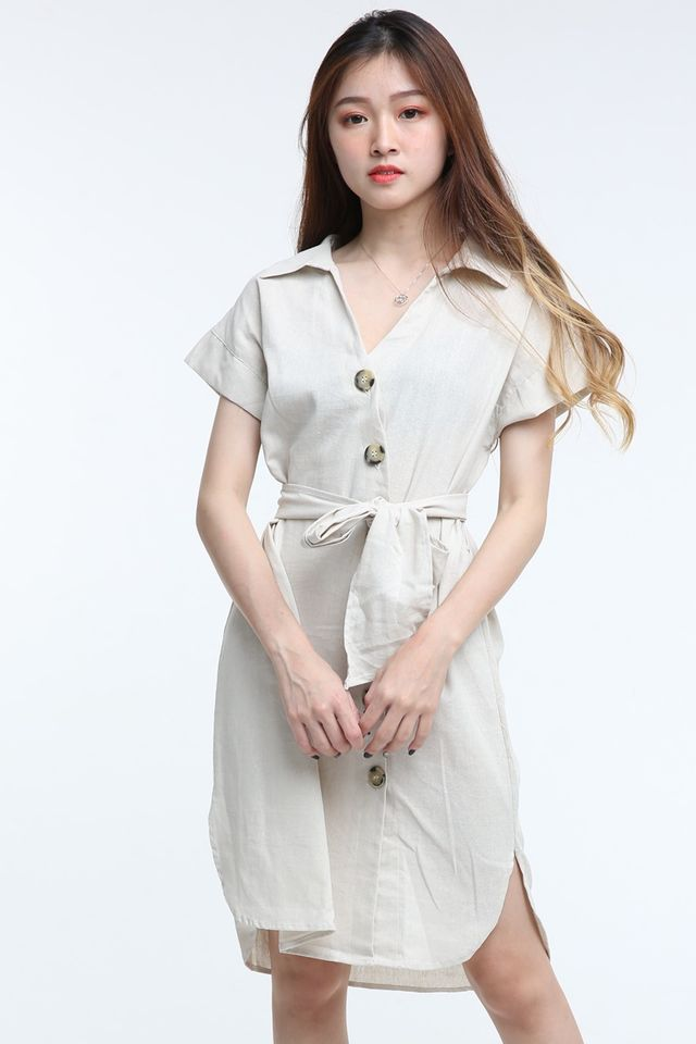 BACKORDER - NEDEN LINEN DRESS INLIGHT BEIGH