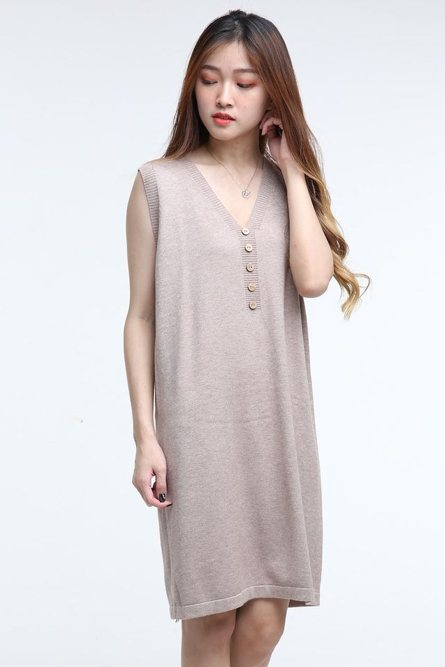 IN STOCK- SINA VEST DRESS IN BROWN